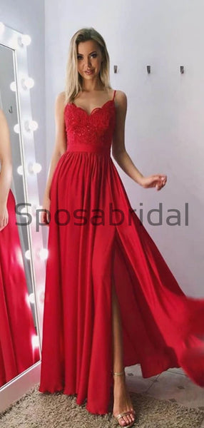A-line Spaghetti Straps Red Side Slit Lace Modest Prom Dresses PD2158