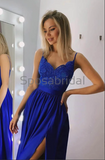 A-line Spaghetti Straps Side Slit Blue Lace Modest Prom Dresses PD2160
