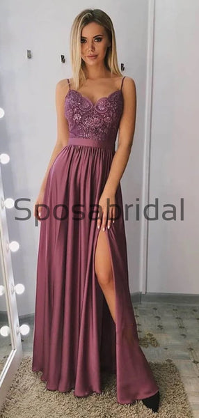 A-line Spaghetti Straps Side Slit Lace Custom Modest Prom Dresses  PD2161