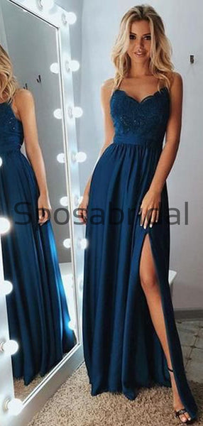 A-line Spaghetti Straps Side Slit Navy Blue Lace Modest Prom Dresses PD2162