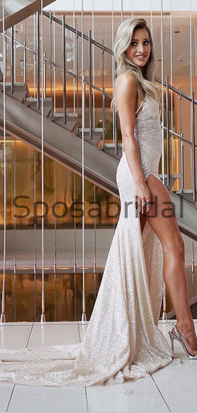 A-line Sparkly Sequin Mermaid  Side Slit Modest Prom Dresses PD2262