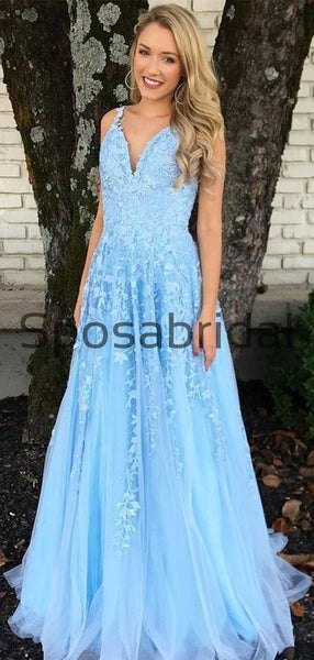 A-line Straps Blue Lace Long Elegant Modest Prom Dresses PD2263