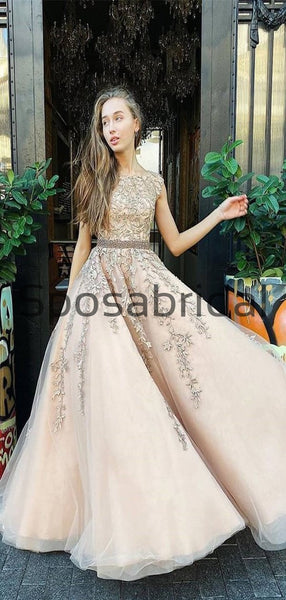 A-line Straps Champagne Lace Long Formal Modest Prom Dresses PD2265
