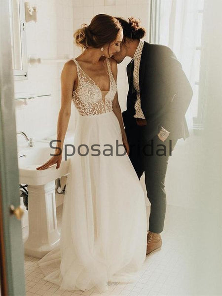A-line Tulle Beeaded V-back Vintage Long Elegant Wedding Dresses WD0411