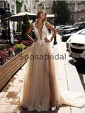 A-line Tulle Lace Vintage Beach Wedding Dresses, Prom Dresses WD0410