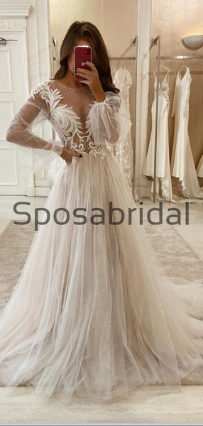 A-line Unique Long Sleeves Vintage Country Wedding Dresses, Prom Dresses WD0414