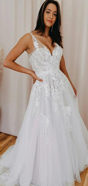 A-line V-Neck Lace Vintage Long Wedding Dresses WD0614