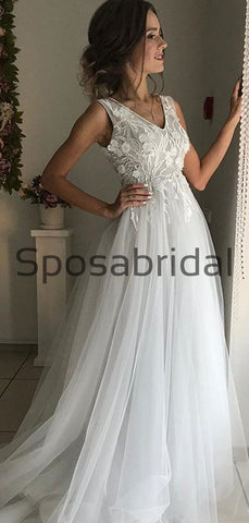 products/A-lineV-NeckLightGrayVintagePopularModestWeddingDresses.jpg
