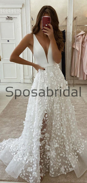 A-line V-Neck Vintage Country Elegant Romantic Wedding Dresses WD0419