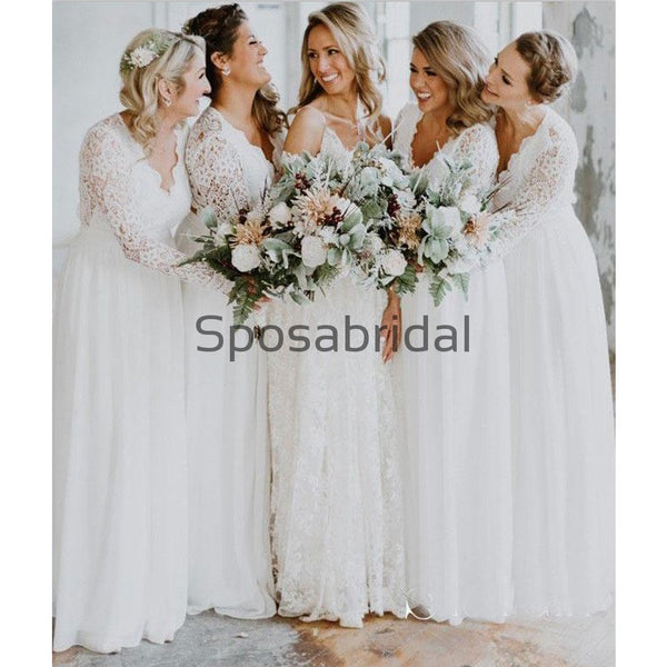 A-line White Long Sleeves Lace Long Bridesmaid Dresses WG872