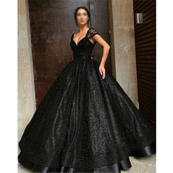 A-line Beaded Gorgeous Black Sequin Sparkly Long Fashion Prom Dresses, Ball gown PD1500