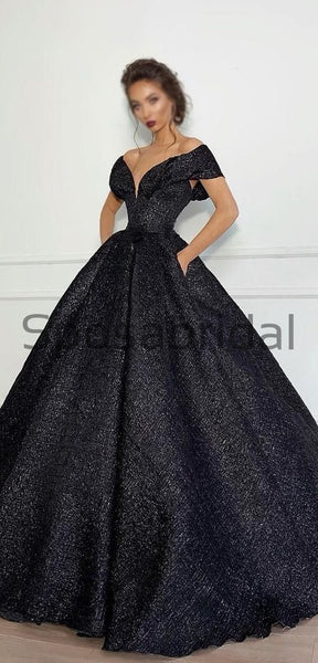 A-line Black Sparkly Off the Shoulder V-Neck Gorgeous Fashion Prom Dresses PD1801