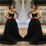 A-line Black Strapless Unique Design Moedst Long Sparkly Fashion Prom Dresses PD1802