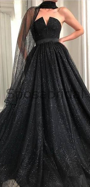 A-line Black Unique Design Moedst Long Best Sale Fashion Prom Dresses PD1803