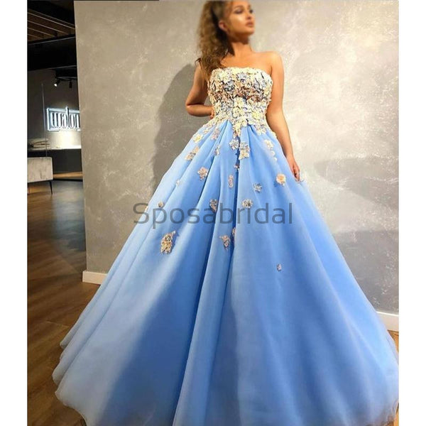 A-line Blue Gorgeous Modest Formal Long Prom Dresses with appliques, Ball gowns PD1505