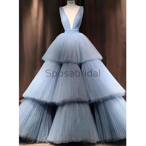 A-line Blue Tulle Deep V-Neck Unique Modest Gorgeous Long Prom Dresses, Ball gown PD1508
