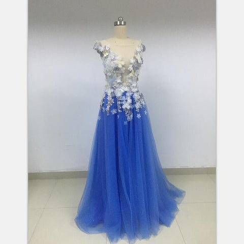 A-line Blue V-Neck Charming Discount Cheap Prom Dresses Online,DD014 - SposaBridal