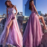 A-line Elegant Tulle Spaghetti Straps Neckline A-line Prom Dresses With Lace Appliques,PD1034 - SposaBridal