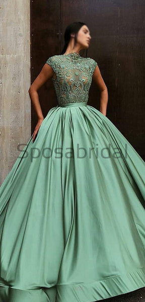 A-line Gorgeous Green High Neck Modest Elegant Formal Long Prom Dresses, Ball gown PD1523