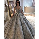 A-line Gorgeous Grey Silver V-neck Sequin Sparkly Long Fashion Prom Dresses, Ball gown PD1525