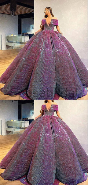 A-line Gorgeous Off the Shoulder Sparkly Modest Elegant Formal Long Prom Dresses, Ball gown PD1526