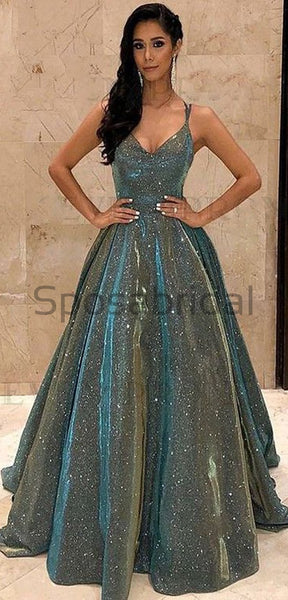 2020 A-line Gorgeous Shining Sequin Sexy Sparkling Crystal Backless Long Modest Prom Dresses PD1528