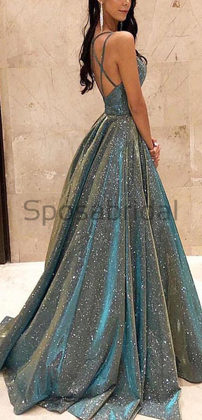2021 A-line Gorgeous Shining Sequin Sexy Sparkling Crystal Backless Long Modest Prom Dresses PD1528