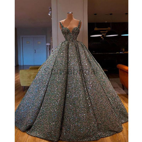 A-line Gorgeous Sparkly Sequin Shining Unique Design Long Fashion Prom Dresses, Ball gown PD1529