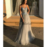 A-line Gray V-Neck Tulle Sequin Vintage Modest Prom Dresses PD2013