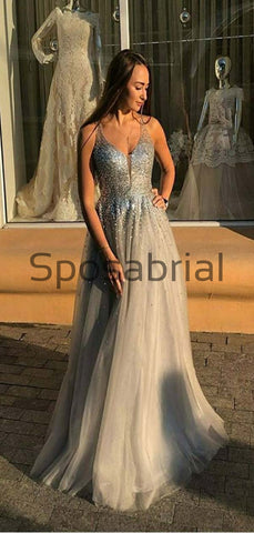 products/A-line_Gray_V-Neck_Tulle_Sequin_Vintage_Modest_Prom_Dresses_2.jpg