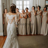 A-line Lace Chiffon Elegant Fashion Floor-length Bridesmaid Dresses WG601