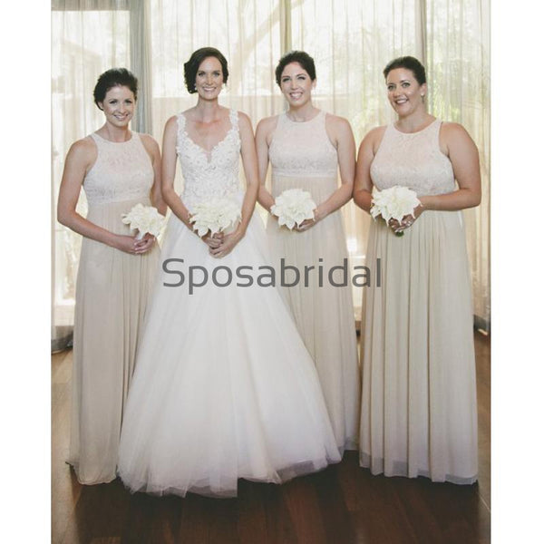 A-line Long Chiffon Sleeveless Elegant Bridesmaid Dress with Lace WG602