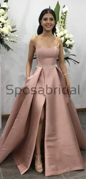 A-line Long Satin Simple Elegant High Quality Fashion Prom Dresses PD1804