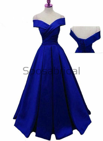 A-line Off the Shoulder Blue Satin Modest Simple Prom Dresses PD1991