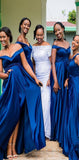 A-line Off the Shoulder Royal Blue Modest Elegant  Long Bridesmaid Dresses with Slit, WG512