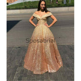 A-line Off the Shoulder Sparkly Sequin Vintage Prom Dresses  PD2014