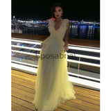 A-line Pastel Yellow V-Neck Tulle Modest Prom Dresses,Evening Dress PD2015