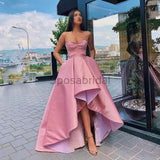 A-line Pink High-low Straps Satin Formal Long Modest Unique Prom Dresses PD1531