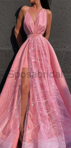 products/A-line_Pink_Spaghetti_Straps_Side_Slit_Unique_Modest_Gorgeous_Long_Prom_Dresses_2.jpg