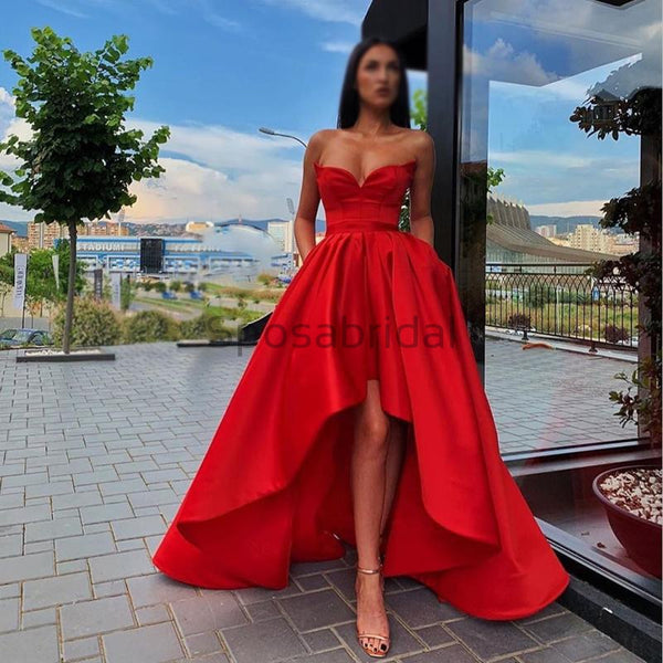 A-line Red High-low Straps Satin Formal Long Modest Unique Prom Dresses PD1534