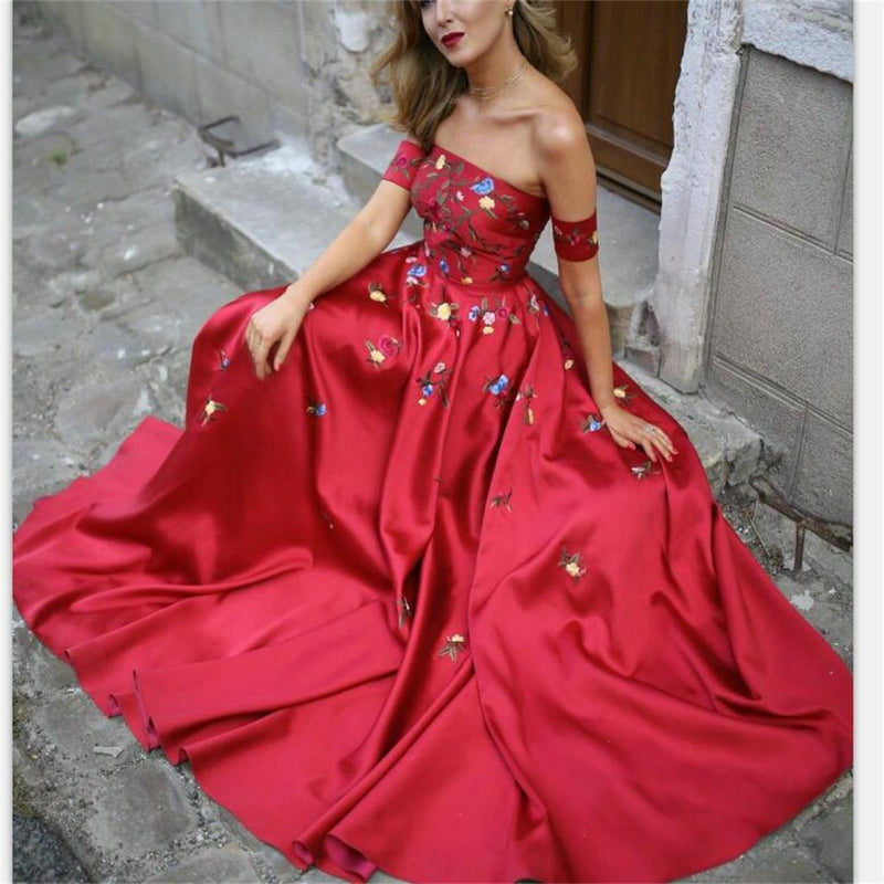 A-line Red Off Shoulder Beautiful Flower Appliques Prom Dresses, Fashion dress for woman, PD0475