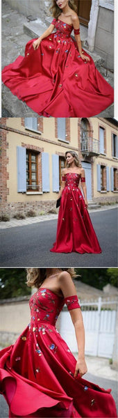 A-line Red Off Shoulder Beautiful Flower Appliques Prom Dresses, Fashion dress for woman, PD0475 - SposaBridal