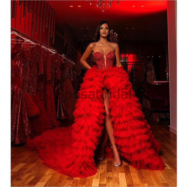 A-line Red Tulle Unique Hot Sale Modest Formal Prom Dresses PD1997
