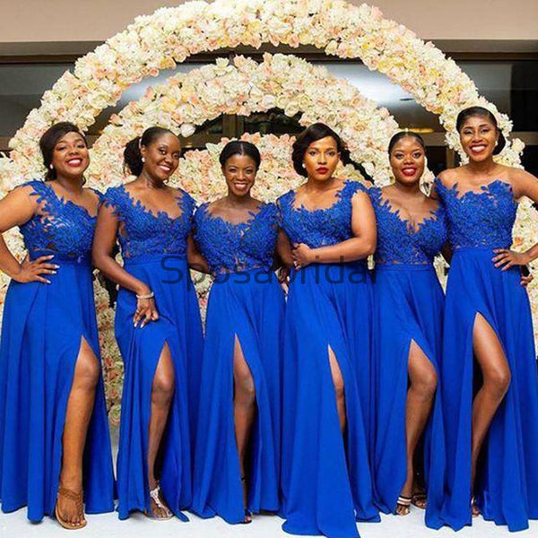 A-line Royal Blue Side Slit Lace Gorgeous Bridesmaid Dresses WG603
