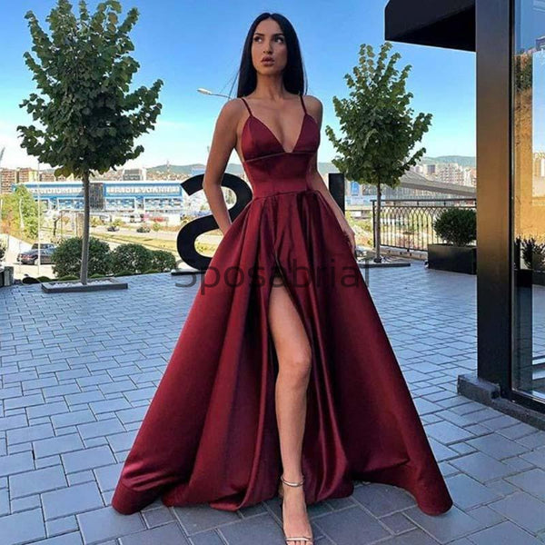 A-line Satin Burgundy Side Slit Simple Cheap Party Prom Dresses PD2017
