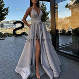 A-line Satin Gray Side Slit Simple Cheap Vintage Party Prom Dresses PD2018