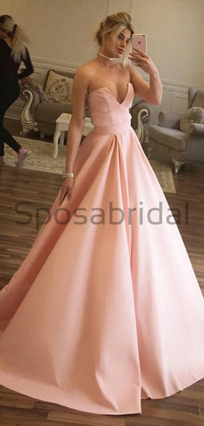 A-line Satin Pink Custom Long V-Neck High Quality Fashion Prom Dresses, Party Gowns PD1692