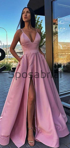 A-line Satin Pink Side Slit Simple Cheap Vintage Party Prom Dresses PD2019