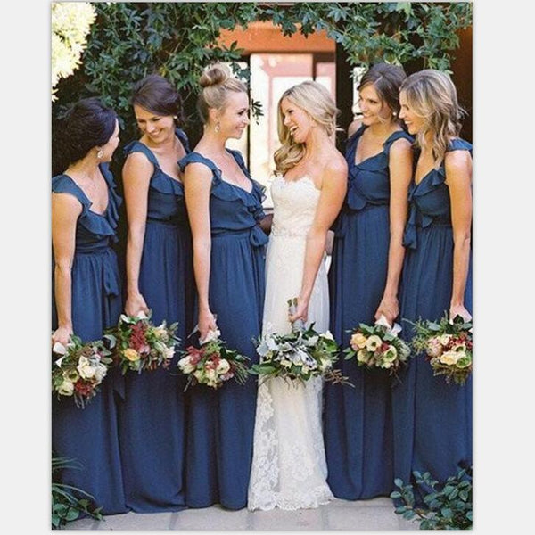 A-line Scoop Sleeveless Floor-Length Unique Design Cheap Ruffles Bridesmaid Dresses  , WG399 - SposaBridal