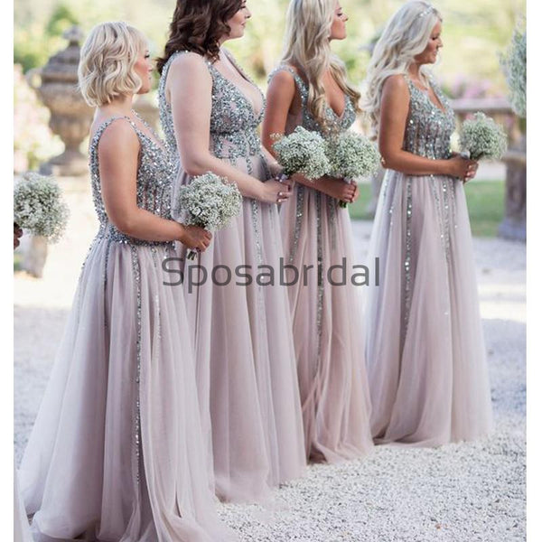 A-line Sequin Tulle V-Neck Modest Elegant Bridesmaid Dresses WG604